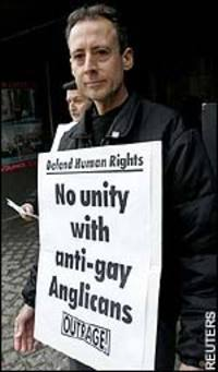 ... who heads the militant British gay rights group OutRage -- pointed out, ...